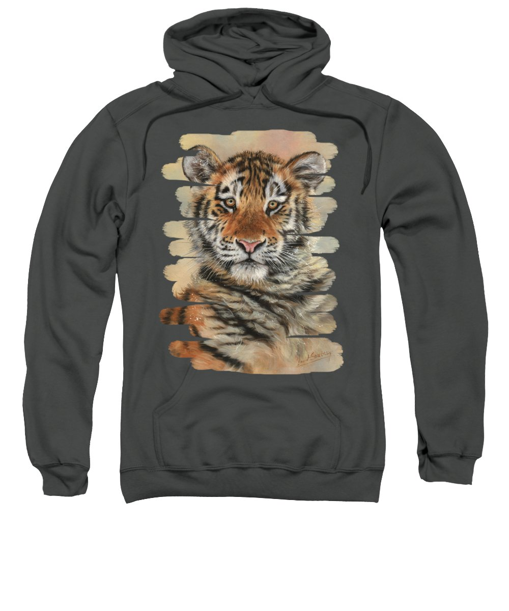 Tiger Sweatshirt featuring the painting Portrait Of A Tiger Cub by David Stribbling