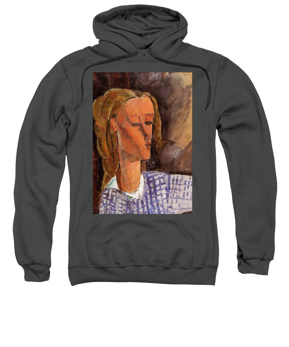 Portrait Sweatshirt featuring the painting Portrait Of Beatrice Hastings 1916 by Modigliani Amedeo