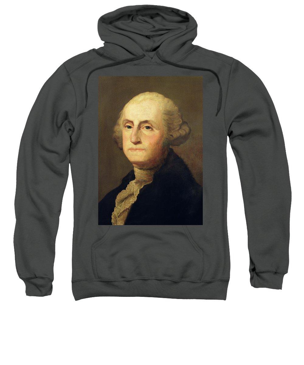 Portrait Of George Washington (oil On Canvas) By Gilbert Stuart (1755-1828) Sweatshirt featuring the painting Portrait Of George Washington by Gilbert Stuart
