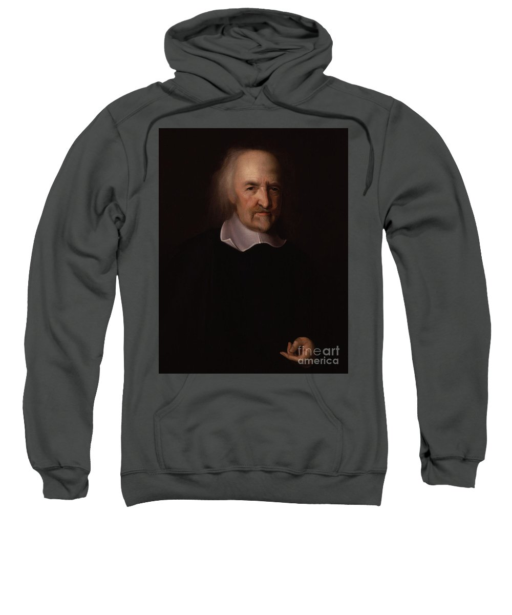 Portrait Sweatshirt featuring the painting Portrait Of Thomas Hobbes by John Michael Wright