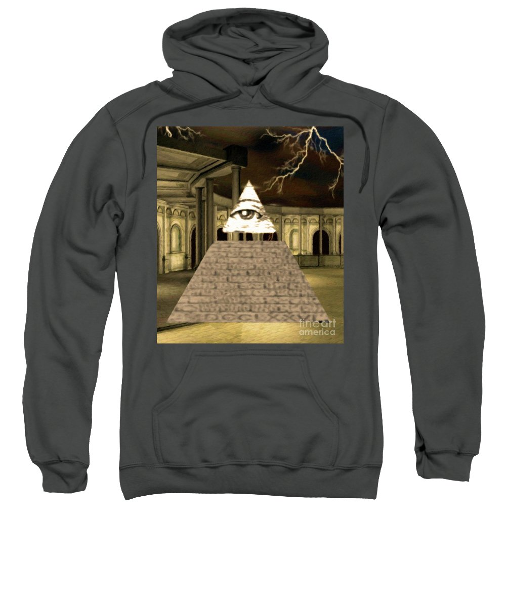 Illuminati Sweatshirt featuring the painting Power Of The Hidden Ones by Esoterica Art Agency