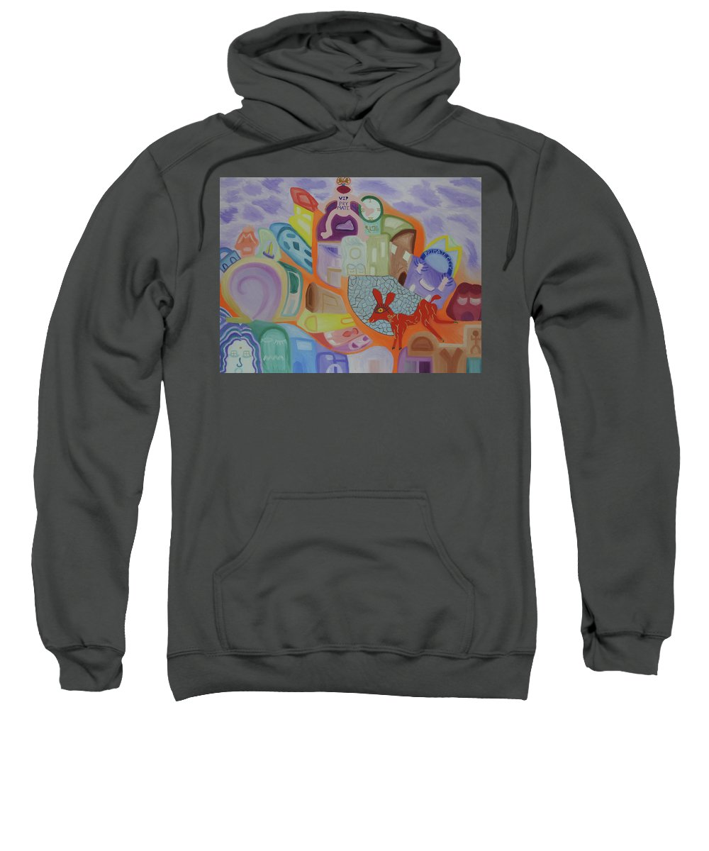 Omega Sweatshirt featuring the painting Powers That Be...alpha And Omega by Adora Miller