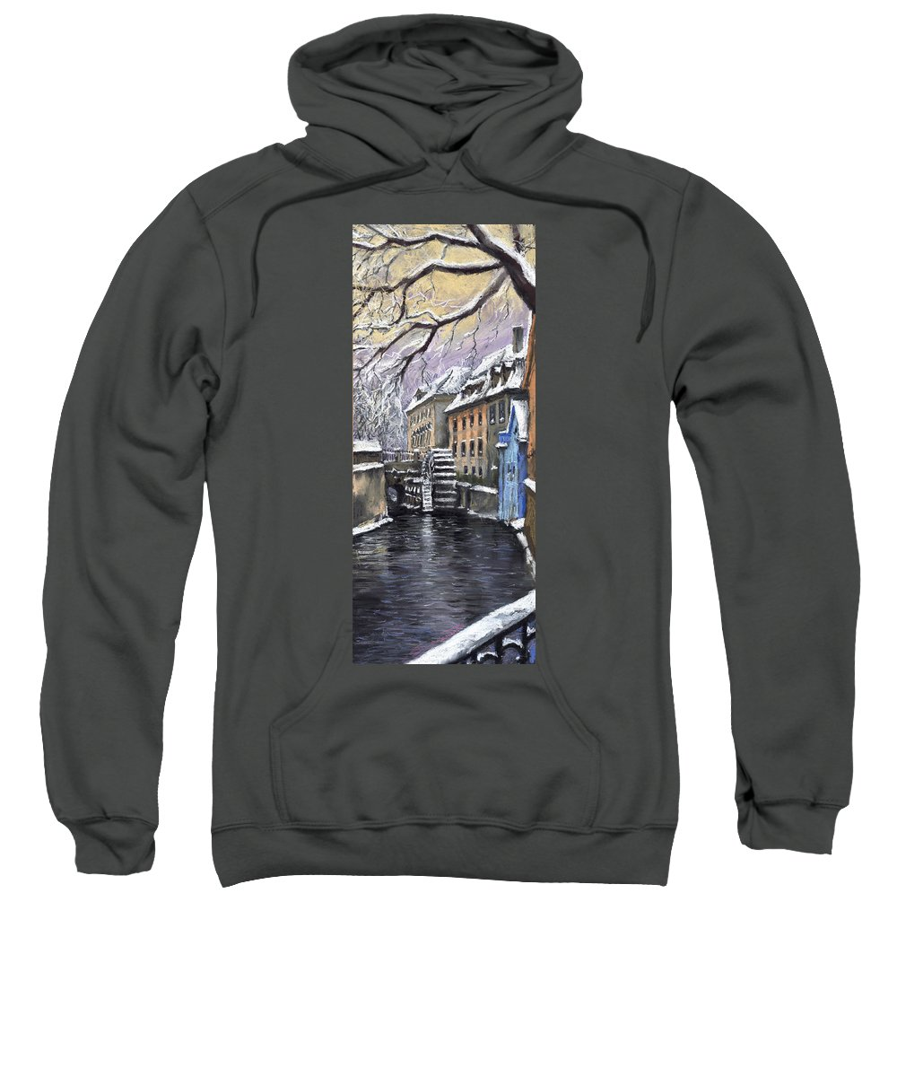 Pastel Sweatshirt featuring the painting Prague Chertovka Winter by Yuriy Shevchuk