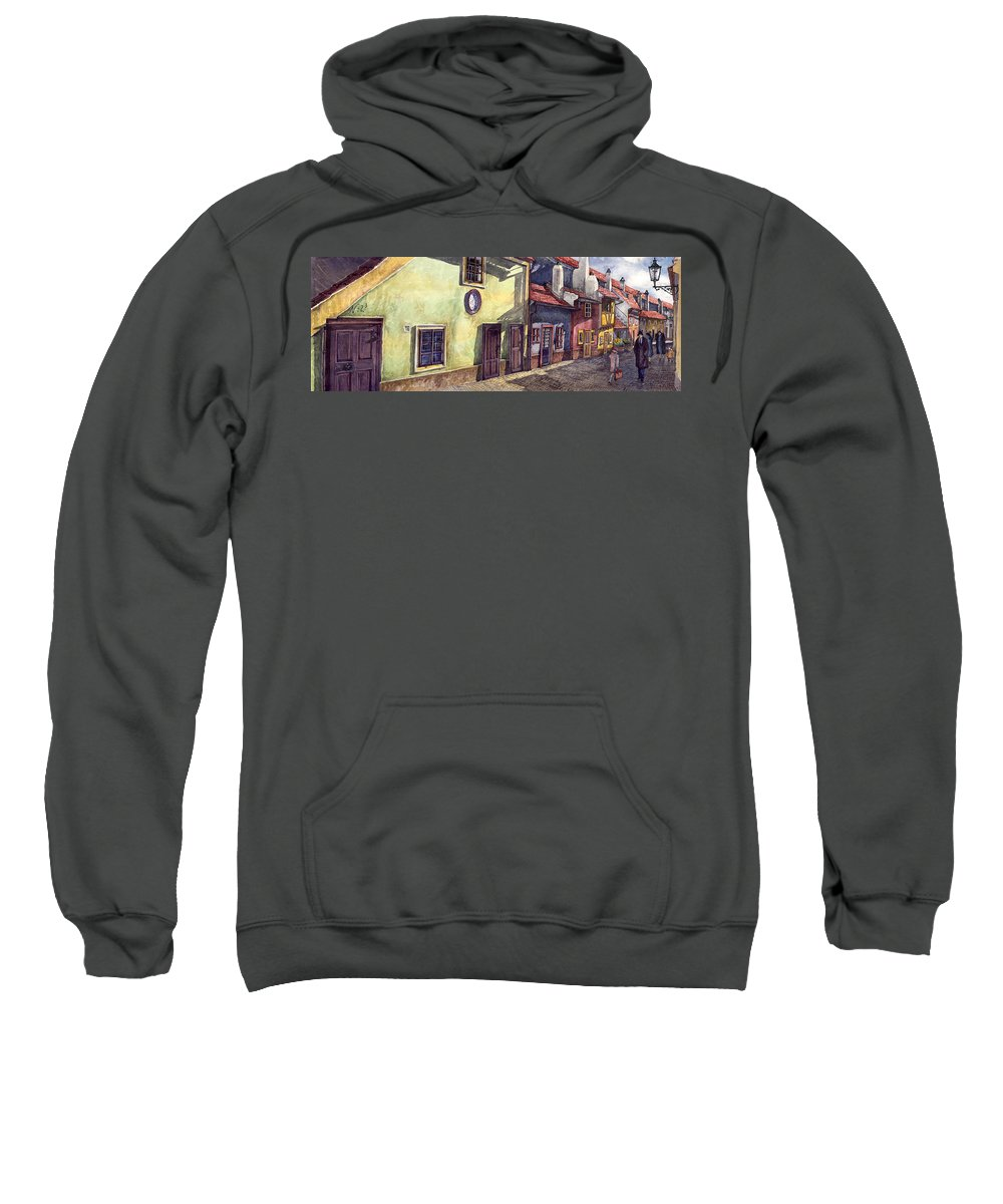 Watercolour Sweatshirt featuring the painting Prague Golden Line Street by Yuriy Shevchuk