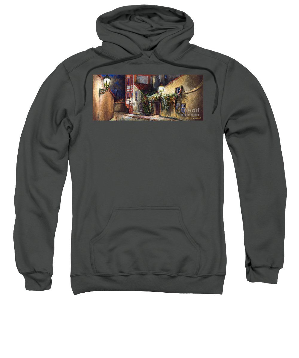 Prague Sweatshirt featuring the painting Prague Novy Svet Kapucinska Str by Yuriy Shevchuk