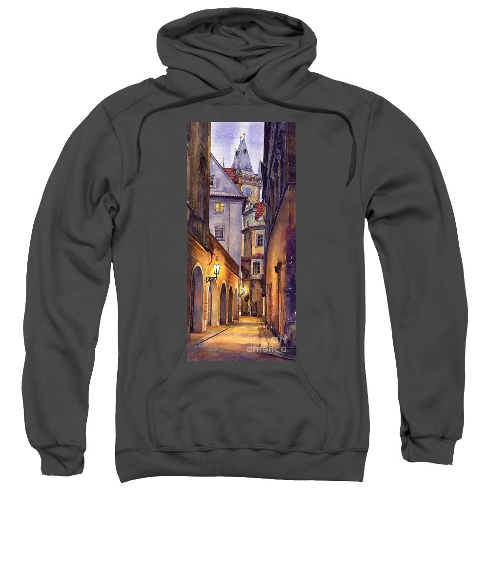 Cityscape Sweatshirt featuring the painting Prague Old Street by Yuriy Shevchuk