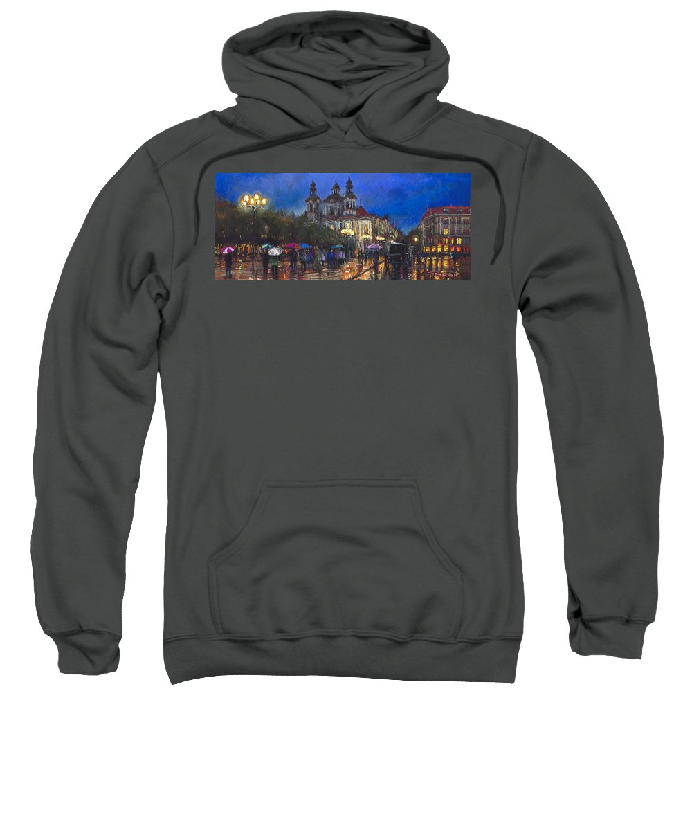 Prague Sweatshirt featuring the pastel Prague Old Town Square St Nikolas Ch by Yuriy Shevchuk