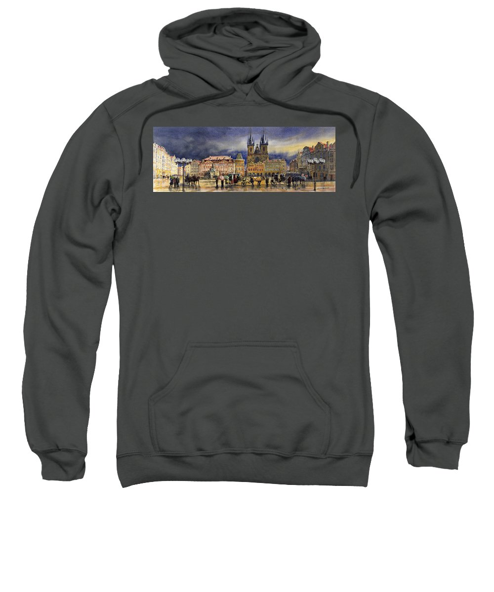 Watercolor Sweatshirt featuring the painting Prague Old Town Squere After Rain by Yuriy Shevchuk