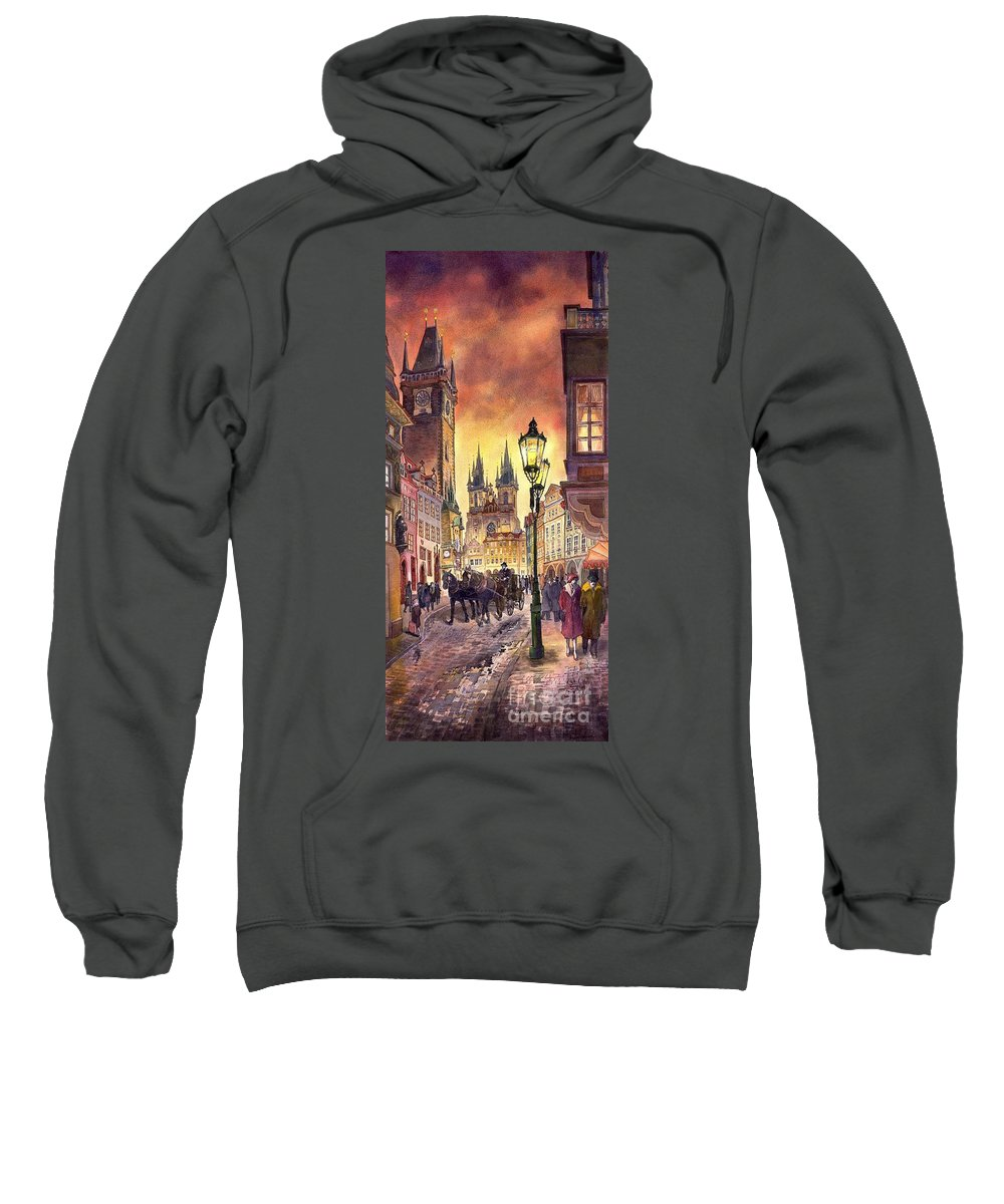 Cityscape Sweatshirt featuring the painting Prague Old Town Squere by Yuriy Shevchuk