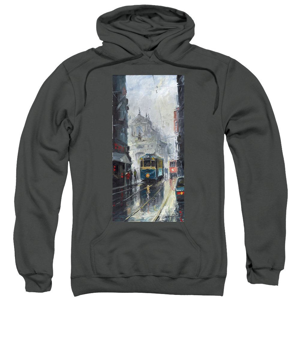 Oil On Canvas Sweatshirt featuring the painting Prague Old Tram 04 by Yuriy Shevchuk