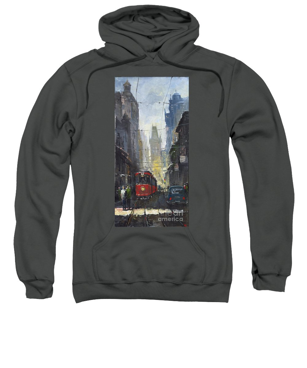 Oil On Canvas Paintings Sweatshirt featuring the painting Prague Old Tram 05 by Yuriy Shevchuk