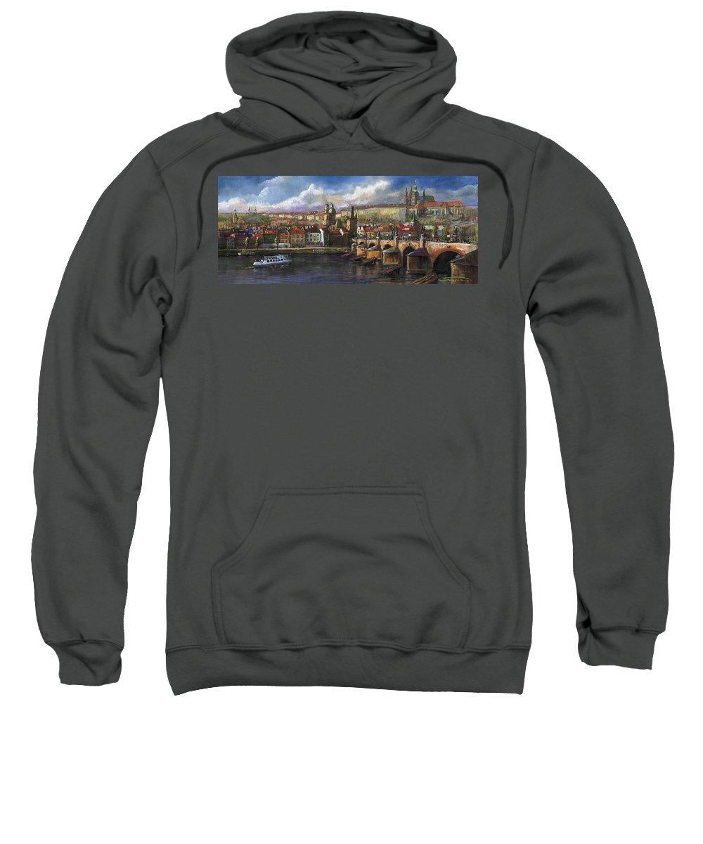 Pastel Sweatshirt featuring the painting Prague Panorama Charles Bridge Prague Castle by Yuriy Shevchuk