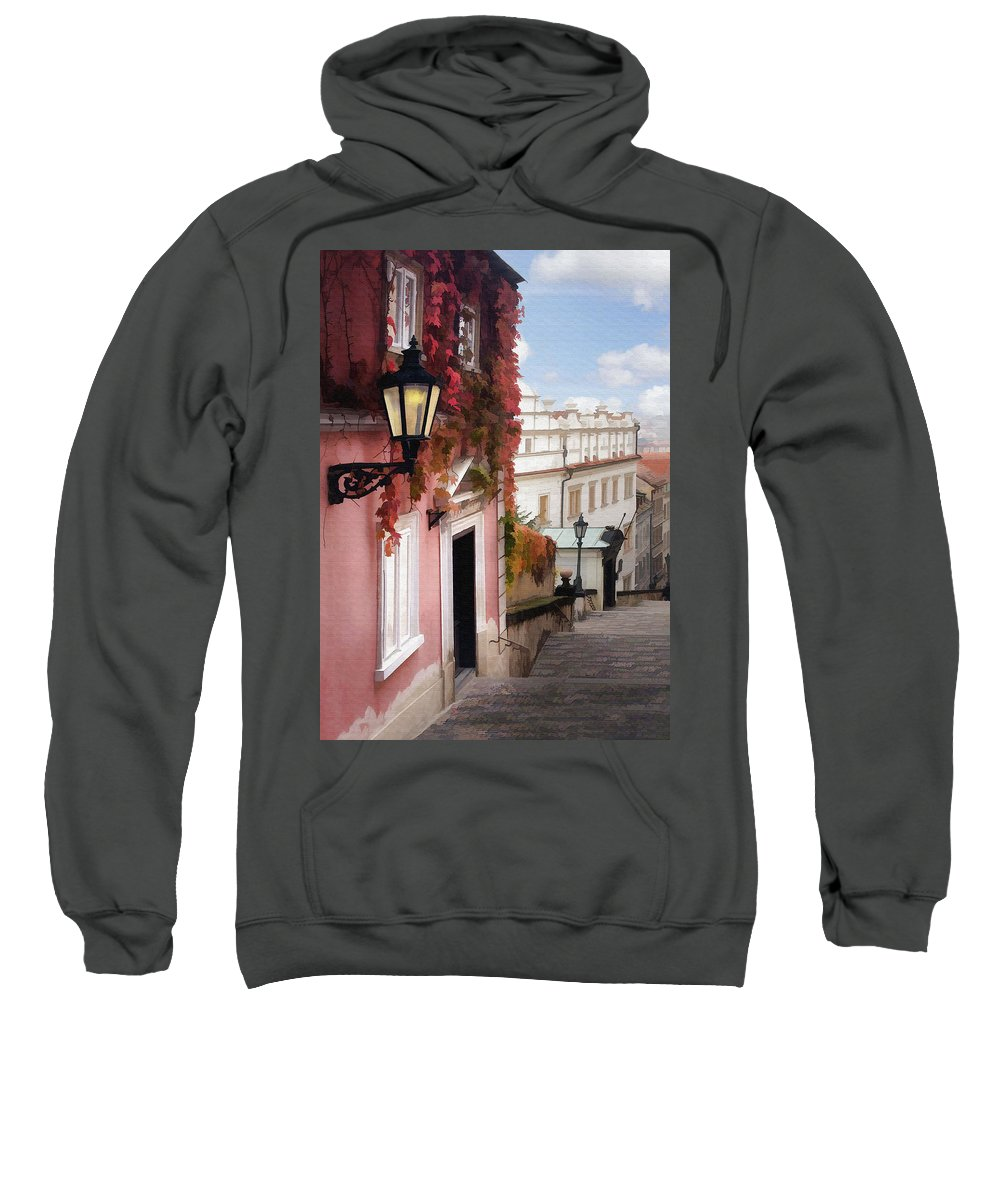 Architecture Sweatshirt featuring the photograph Prague Stairs by Sharon Foster