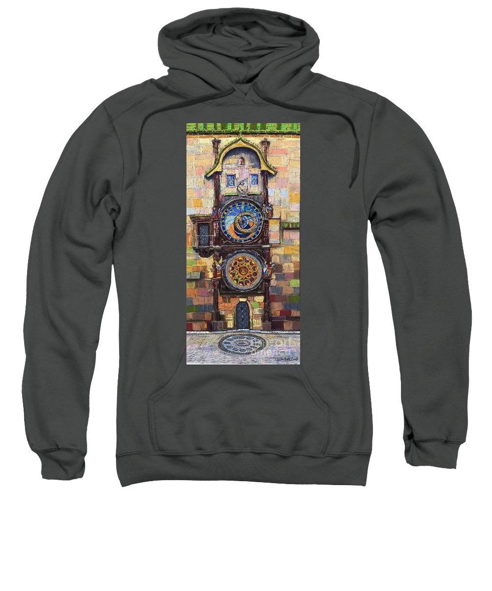 Cityscape Sweatshirt featuring the painting Prague The Horologue At Oldtownhall by Yuriy Shevchuk
