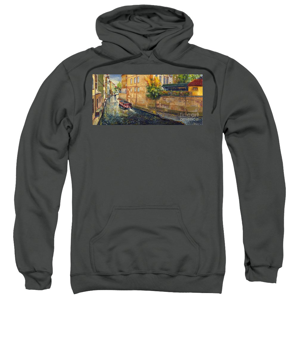 Oil.prague Sweatshirt featuring the painting Prague Venice Chertovka 2 by Yuriy Shevchuk