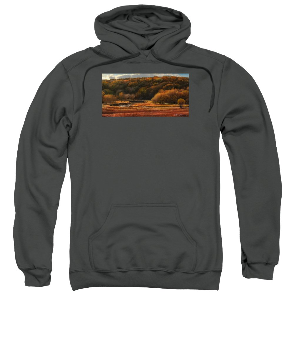 Autumn Landscape Drawings Sweatshirt featuring the drawing Prairie Autumn Stream No.2 by Bruce Morrison