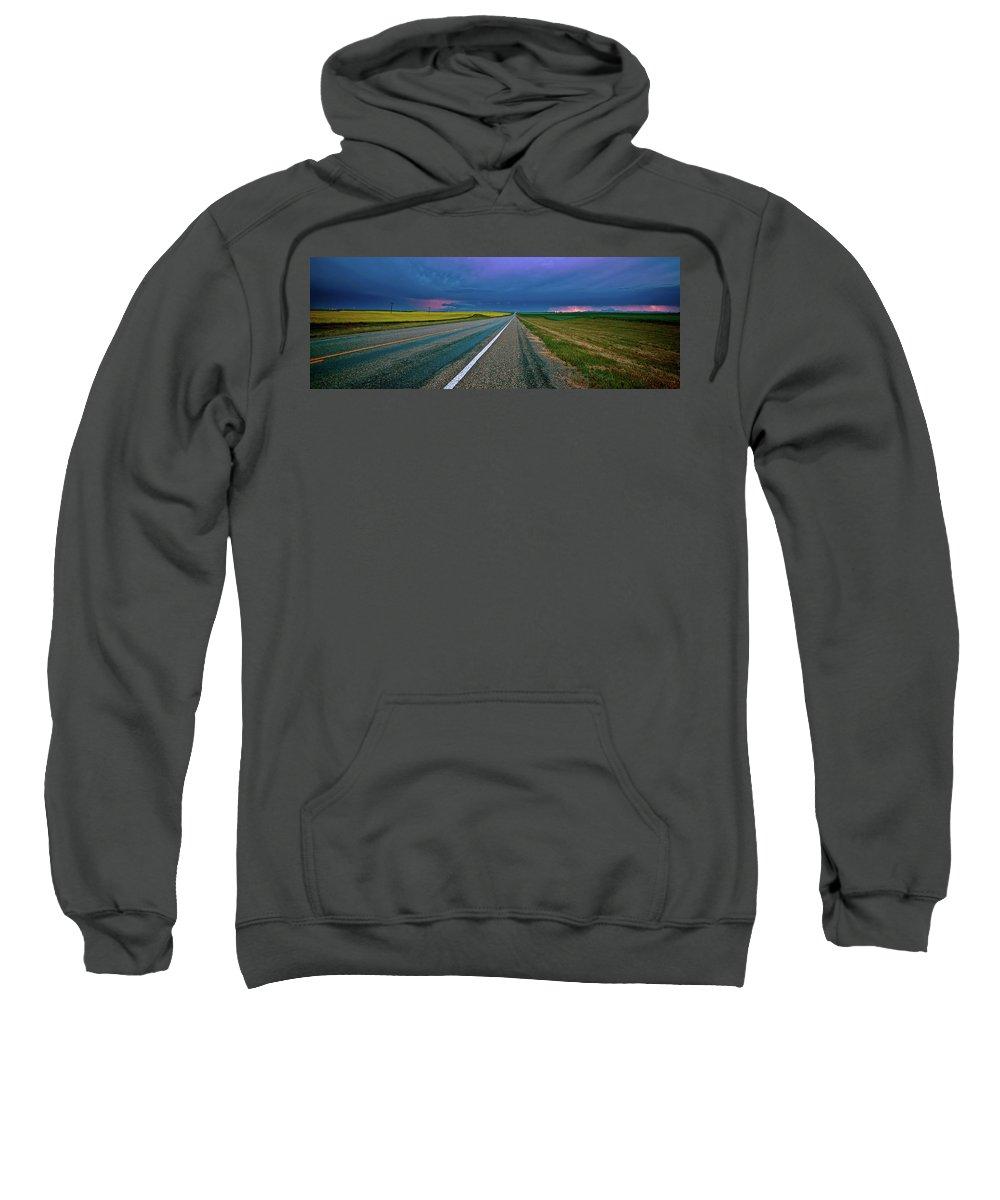 Sweatshirt featuring the digital art Prairie Storm Saskatchewan by Mark Duffy