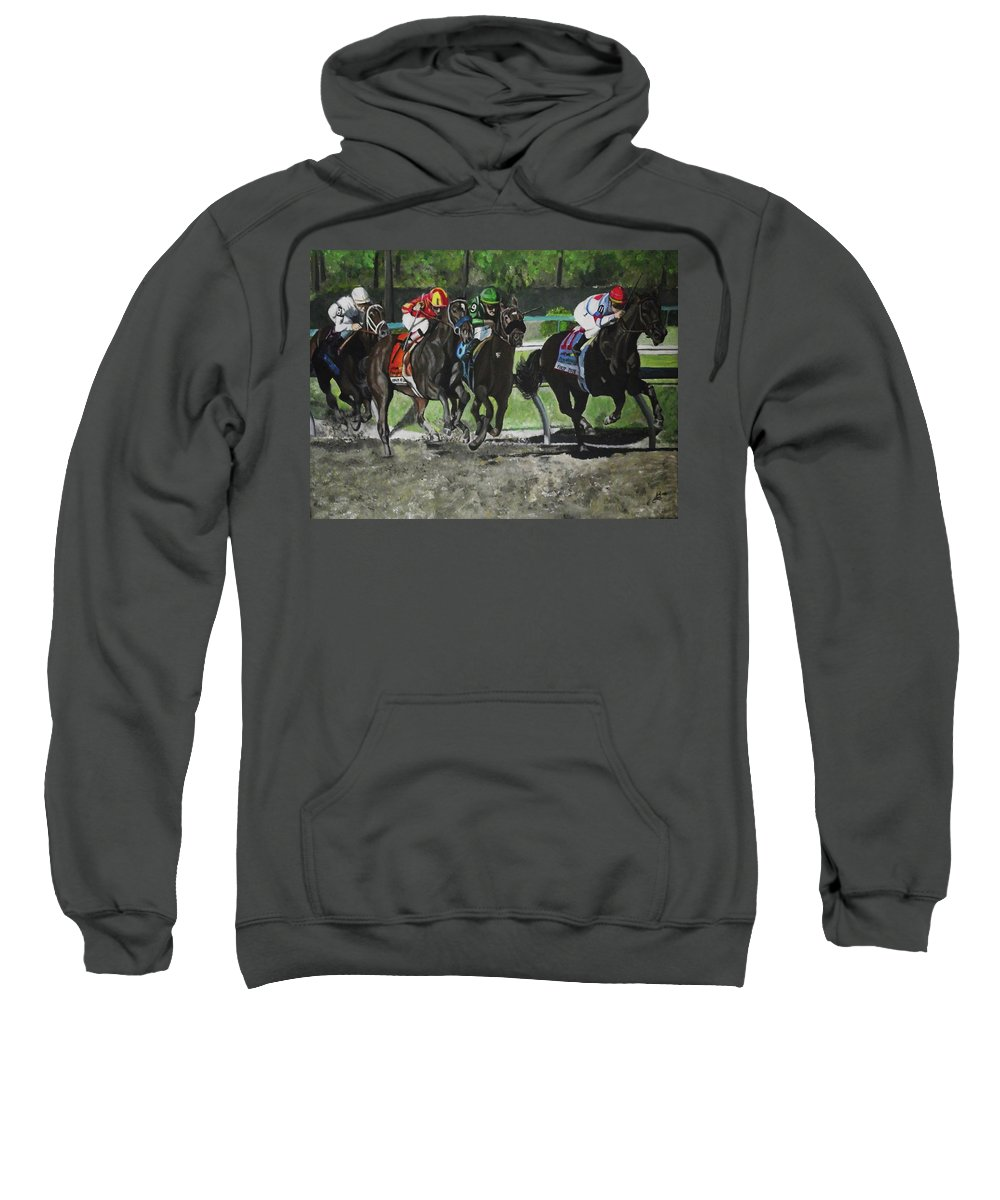 Preakness Sweatshirt featuring the painting Preakness 2010 Horse Racing by Kim Selig