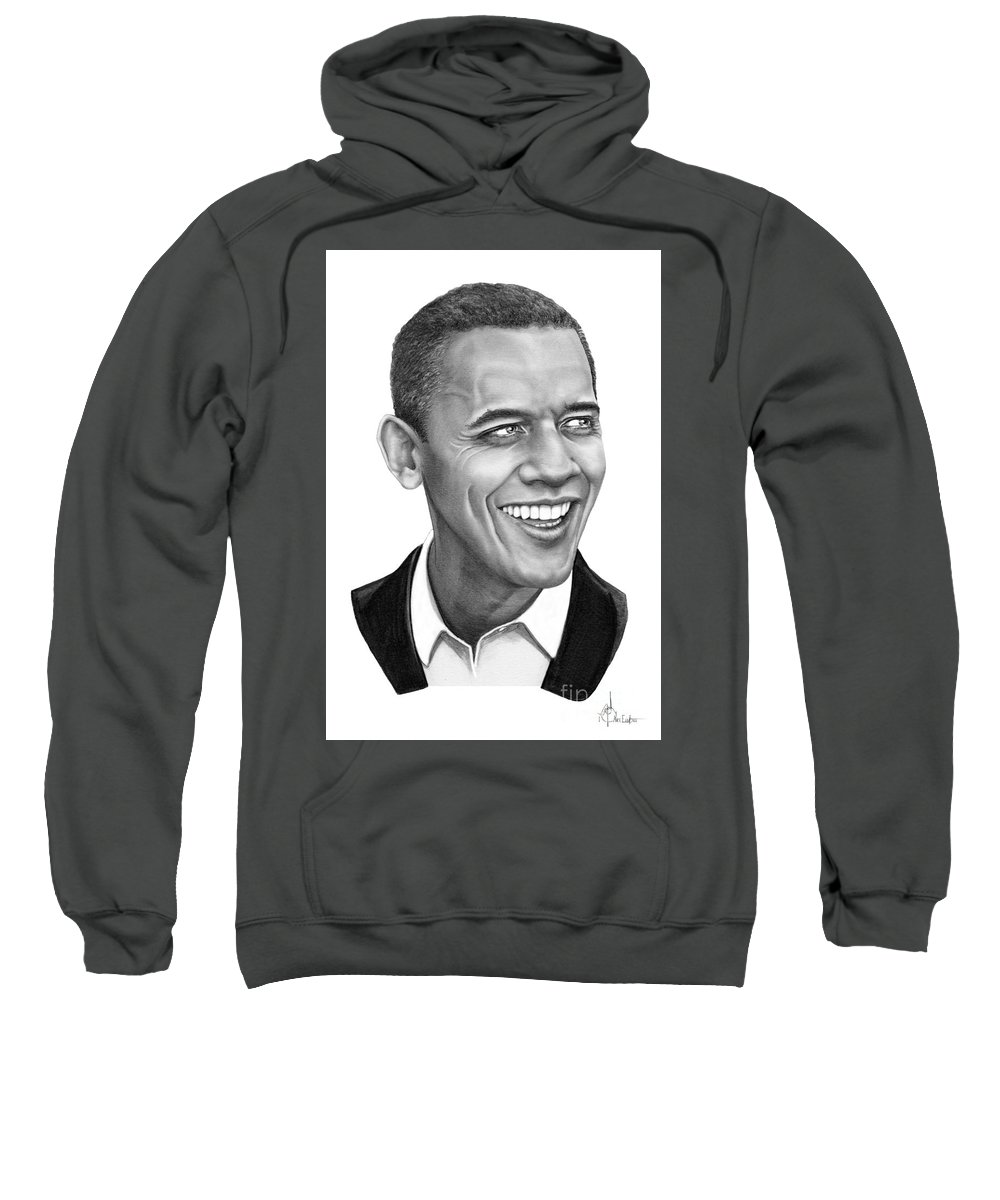 Drawing Sweatshirt featuring the drawing President Barack Obama by Murphy Elliott