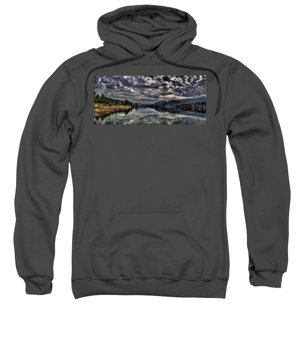 Hdr Sweatshirt featuring the photograph Priest River Panorama 3 by Lee Santa