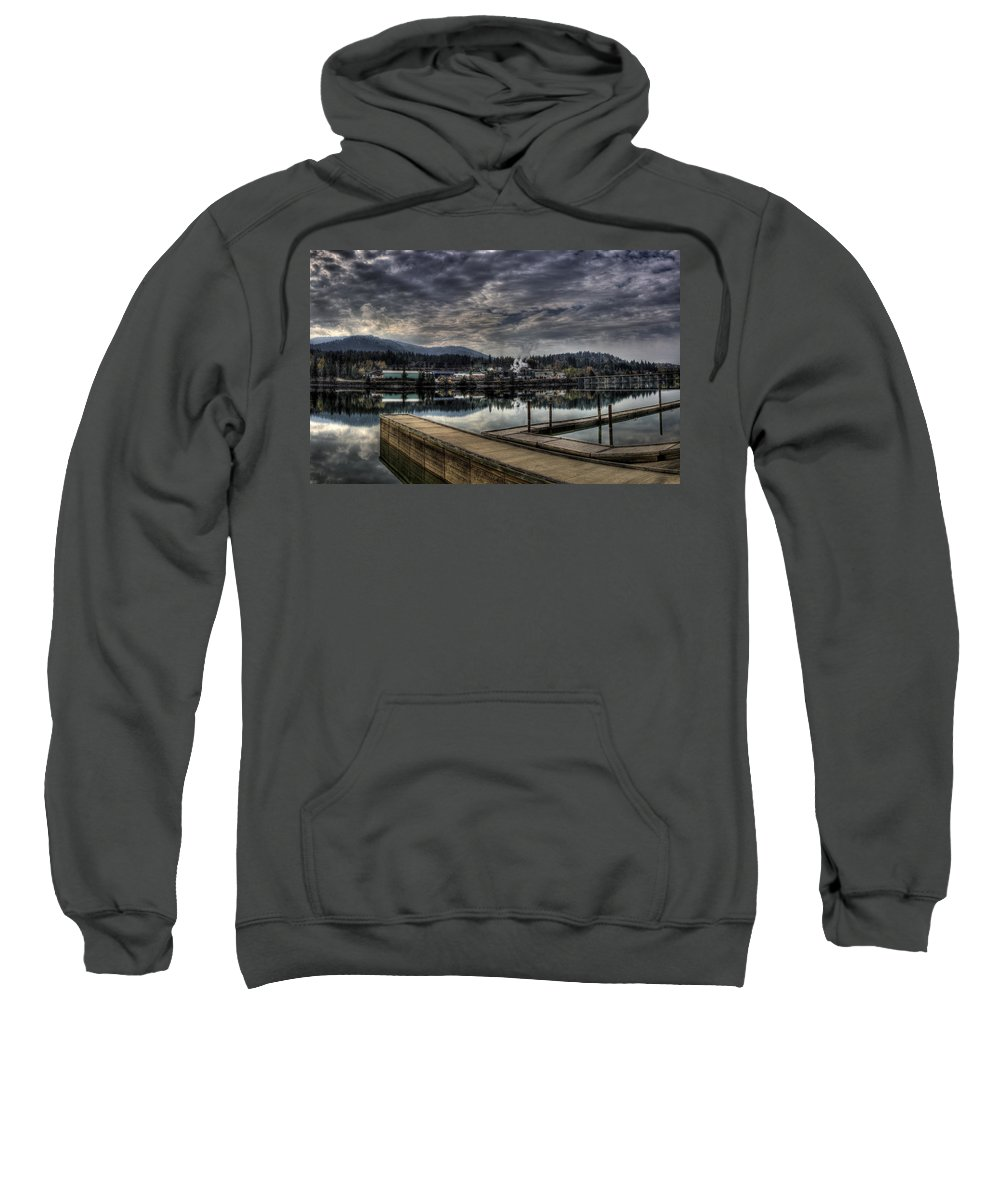 Hdr Sweatshirt featuring the photograph Priest River Panorama 7 by Lee Santa