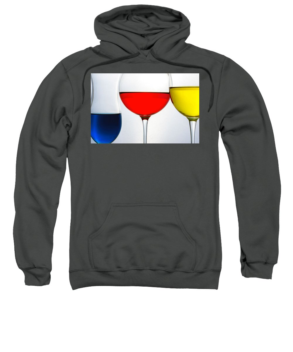 Glassware Sweatshirt featuring the photograph Primary Colors In Glass by Lonnie Paulson