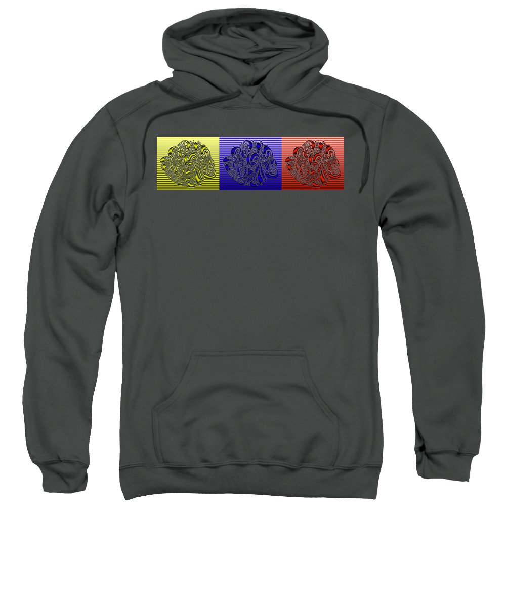 Abstract Sweatshirt featuring the digital art Primary Colors by Mark Sellers