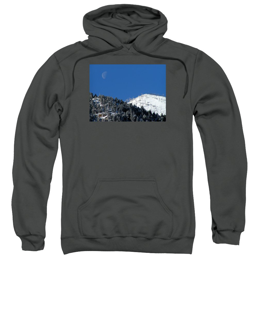 Winter Moon Sugarloaf Mountain Rocky Mountains Colorado Snow Zen Simple Fourmilecanyon Sweatshirt featuring the photograph Pristine Winter Morning by George Tuffy