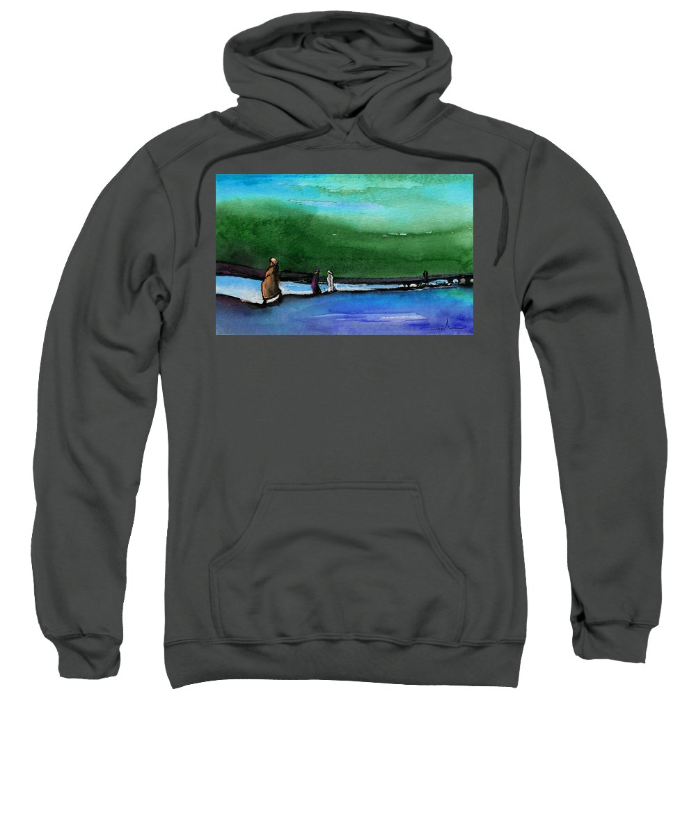 Landscapes Sweatshirt featuring the painting Promenade by Miki De Goodaboom