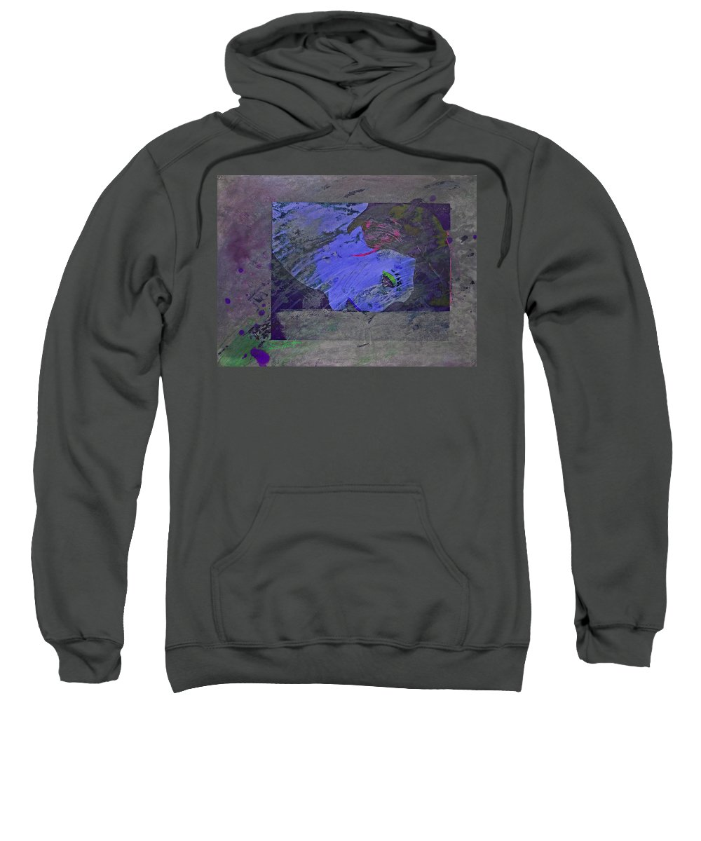 Psycho Sweatshirt featuring the mixed media Psychowarhol Blue by Charles Stuart