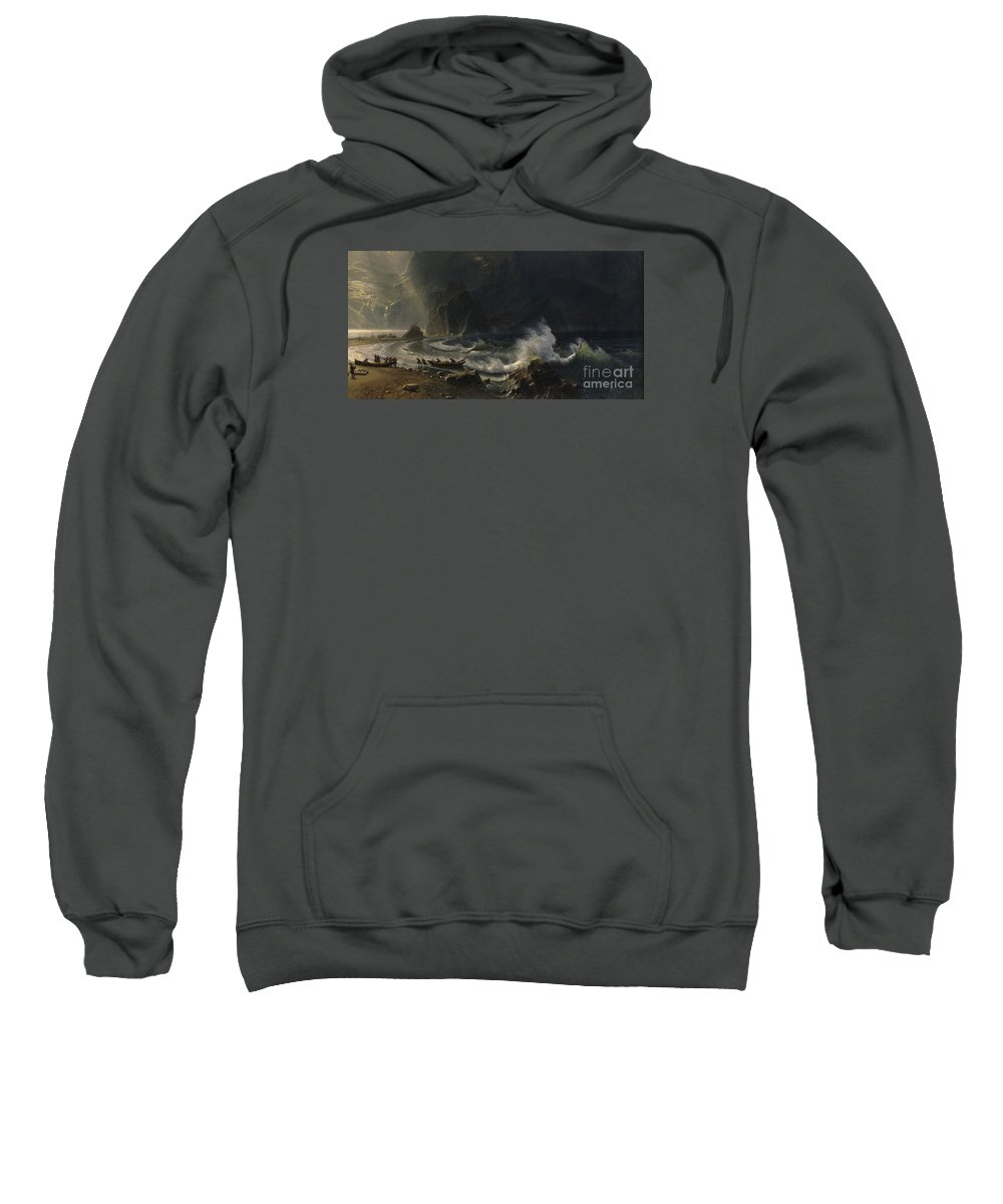 Albert Bierstadt - Puget Sound On The Pacific Coast Sweatshirt featuring the painting Puget Sound On The Pacific Coast, by Celestial Images