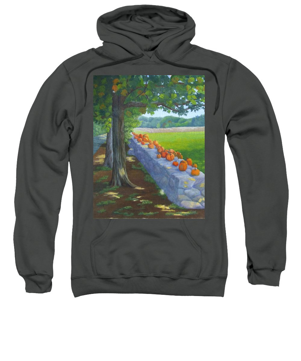 Pumpkins Sweatshirt featuring the painting Pumpkin Muster by Sharon E Allen