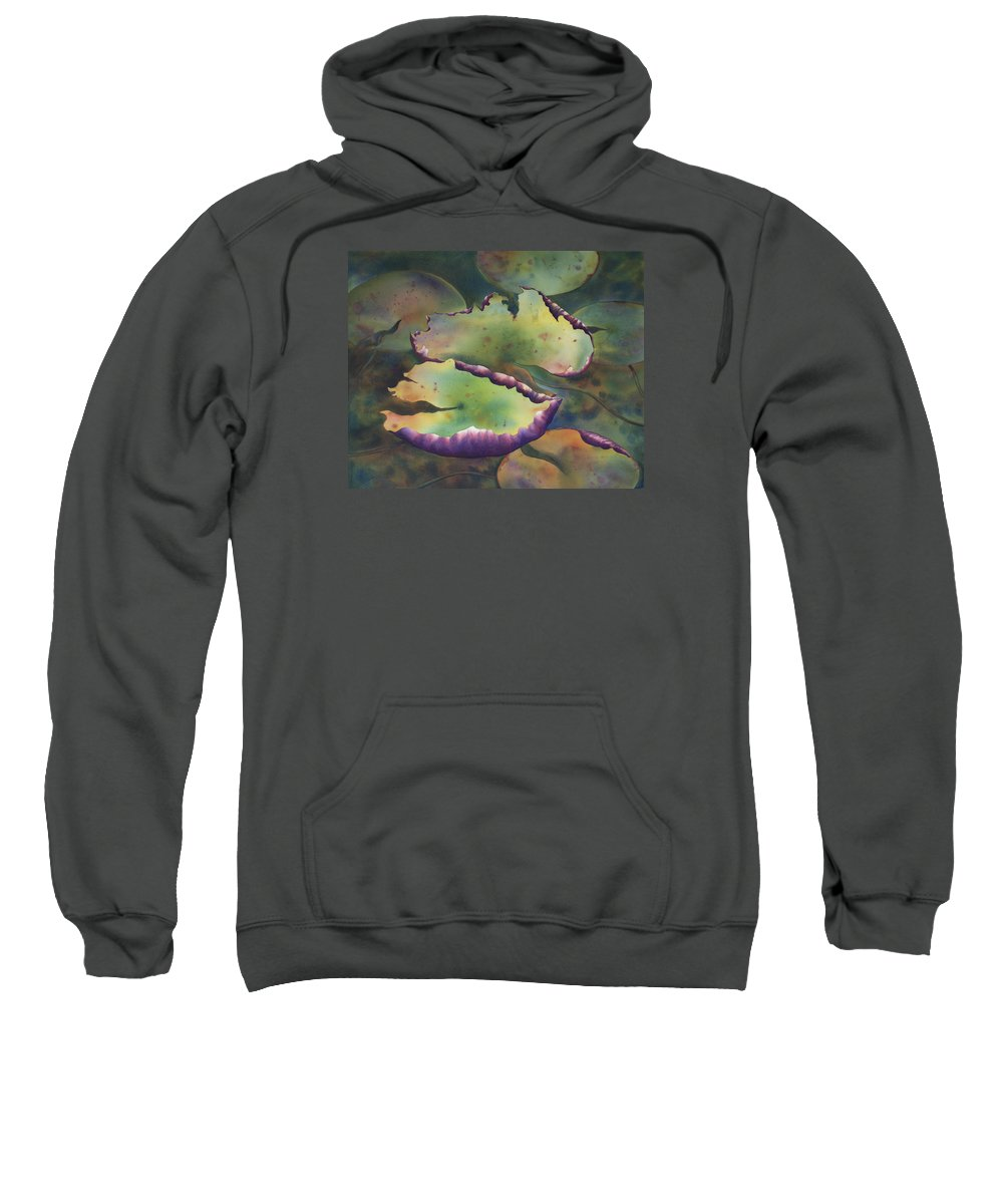 Water Florals Sweatshirt featuring the painting Purple Linings I by Johanna Axelrod