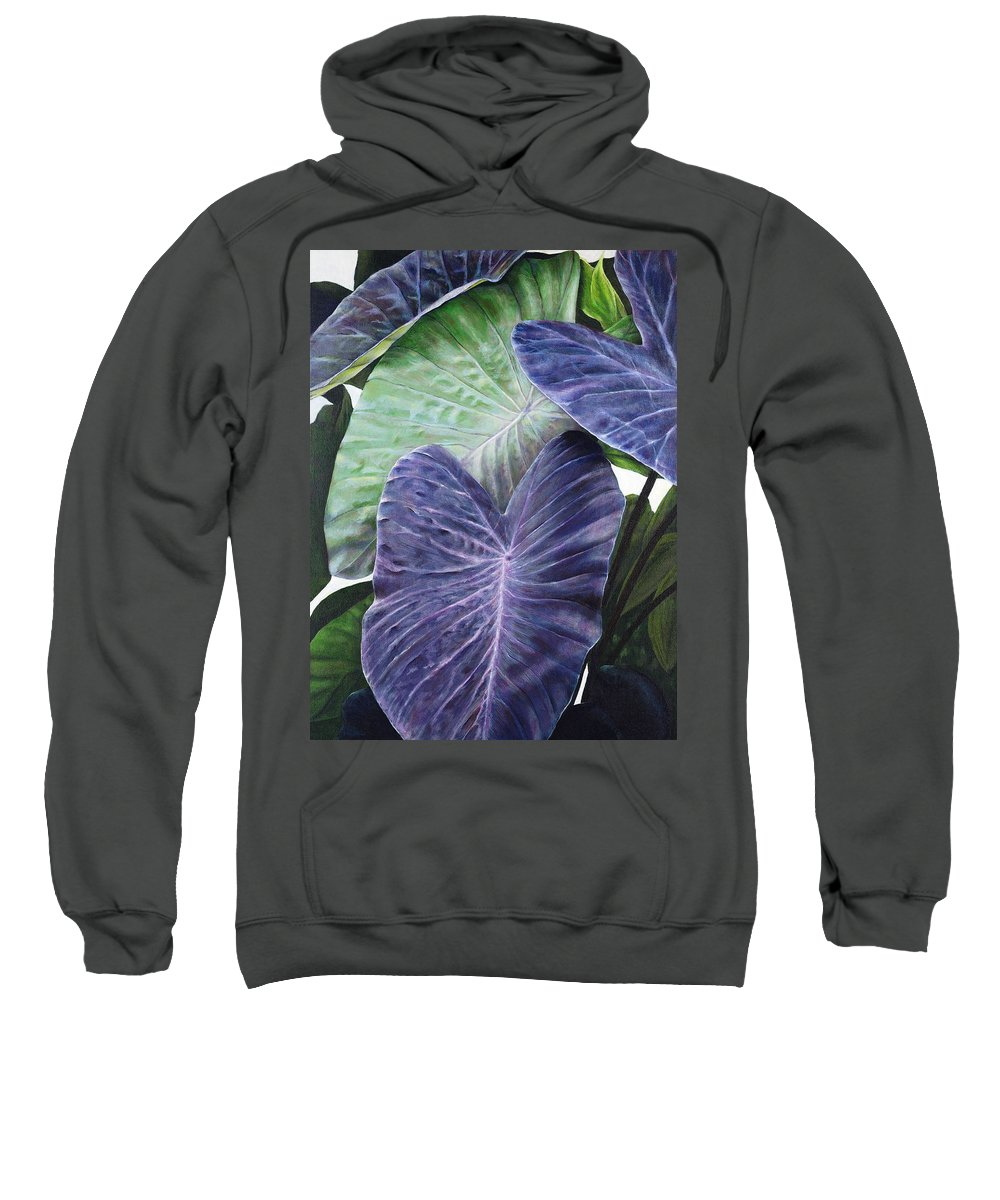 Acrylic Sweatshirt featuring the painting Purple Taro by Sandra Blazel - Printscapes