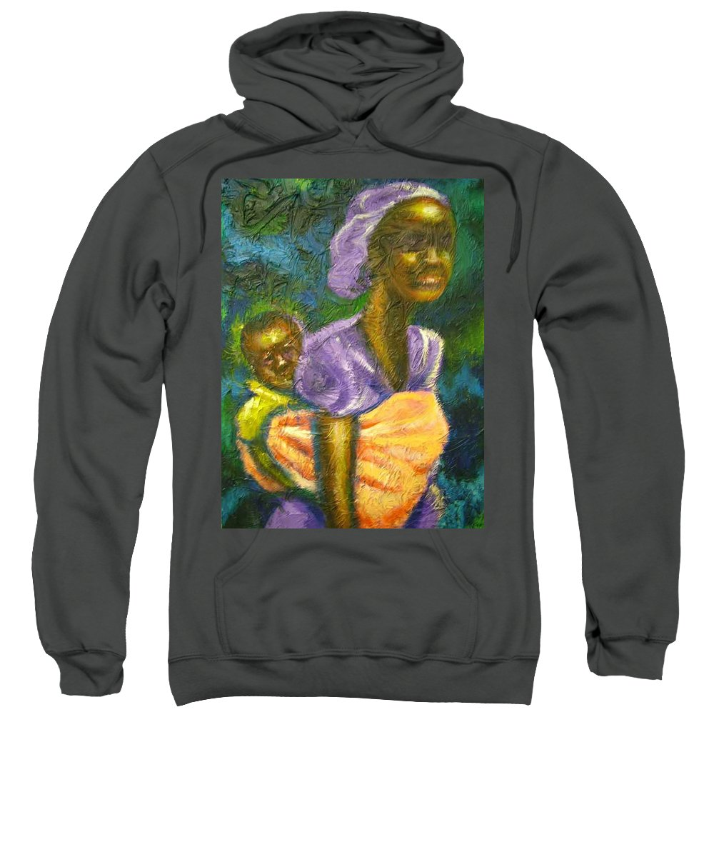Mother And Child Sweatshirt featuring the painting Safe And Secure by Jan Gilmore