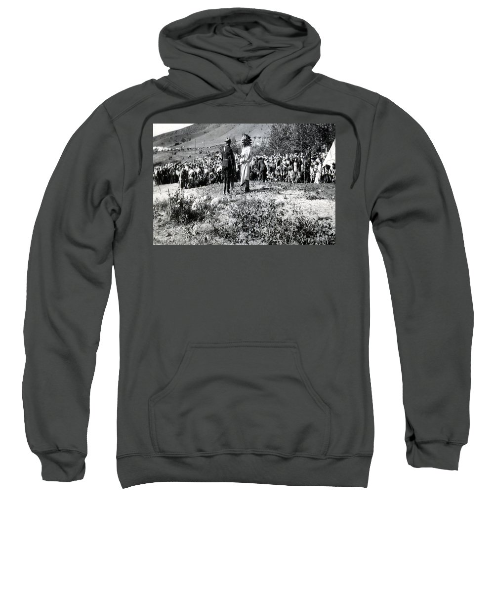 Native Canadian Rcmp Qu' Appelle Saskatchewan 1920s Meeting Indian People Feathers Head Dress Uniform Prairies Valley  Sweatshirt featuring the photograph Qu' Appelle Natives by Andrea Lawrence