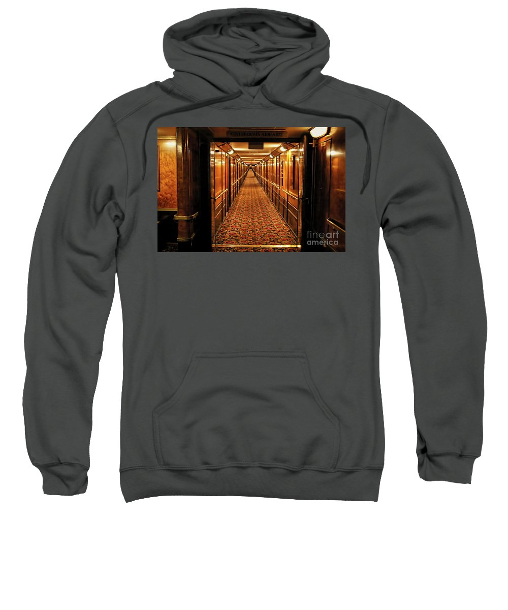 Queen Mary Sweatshirt featuring the photograph Queen Mary Hallway by Mariola Bitner