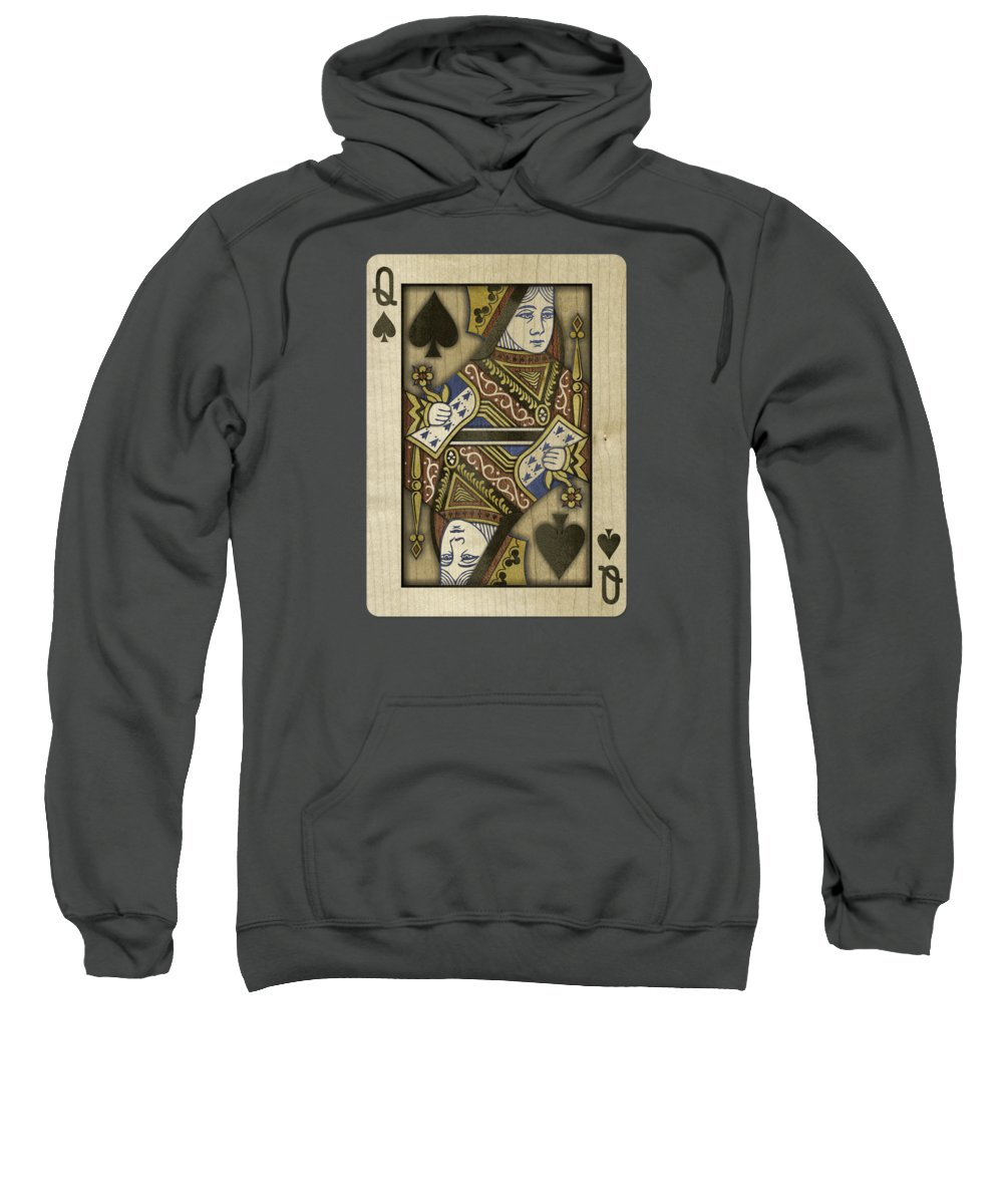 Black Sweatshirt featuring the photograph Queen of Spades in Wood by YoPedro