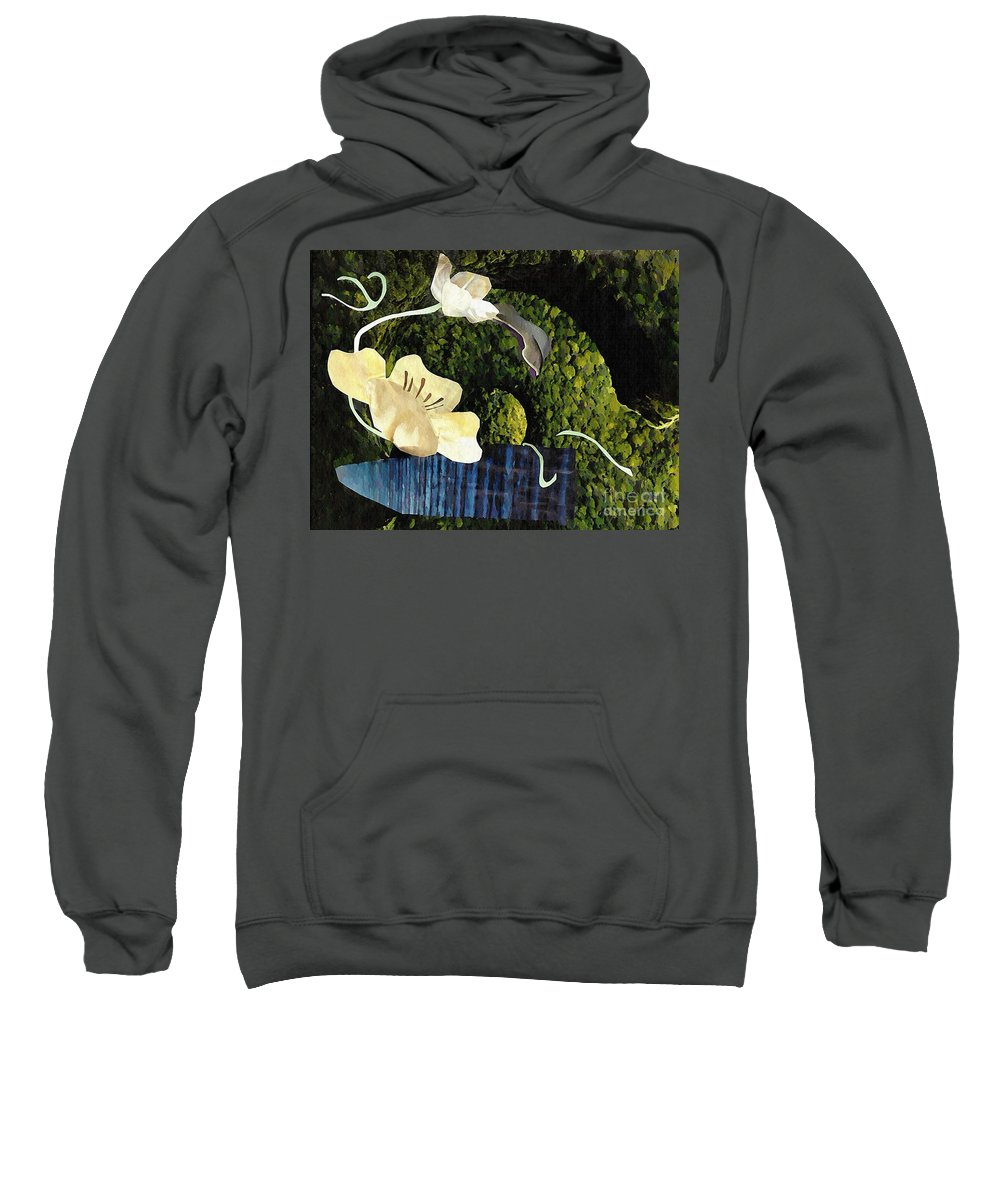 Floral Sweatshirt featuring the mixed media Quiet Garden by Sarah Loft