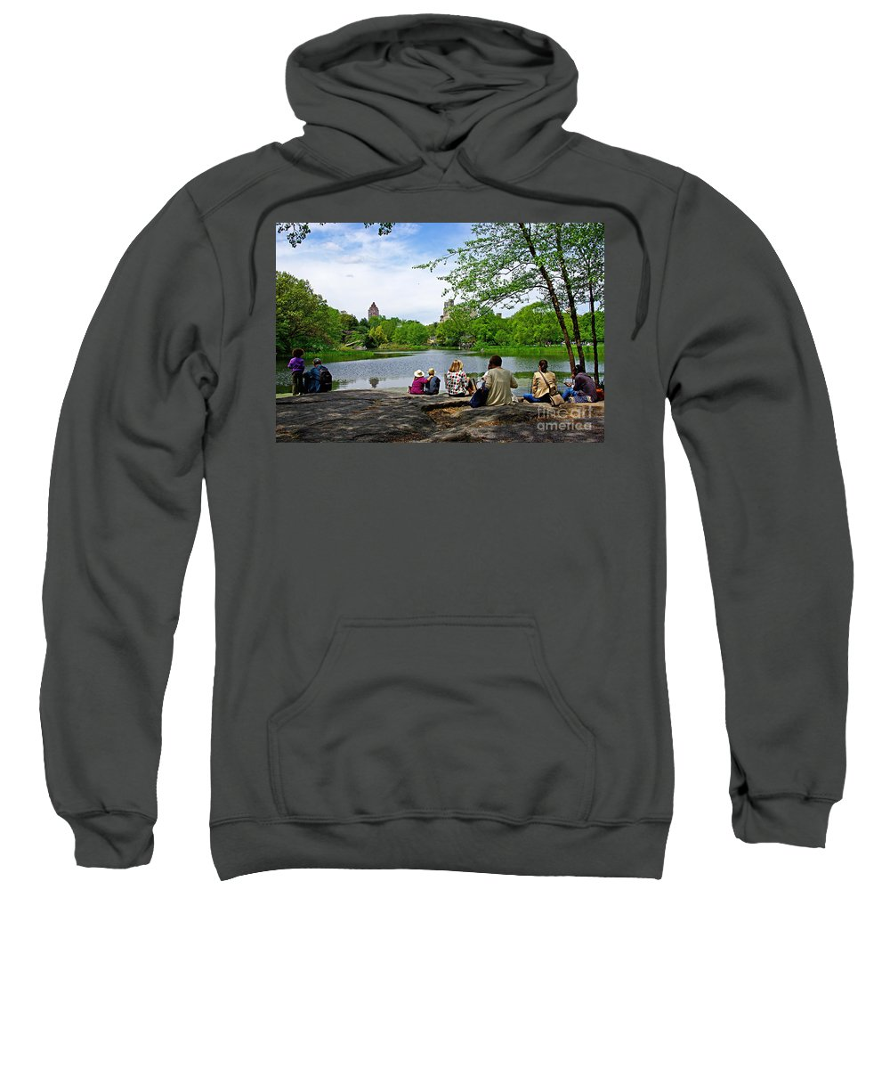 Central Park Sweatshirt featuring the photograph Quiet Moment In Central Park by Zal Latzkovich