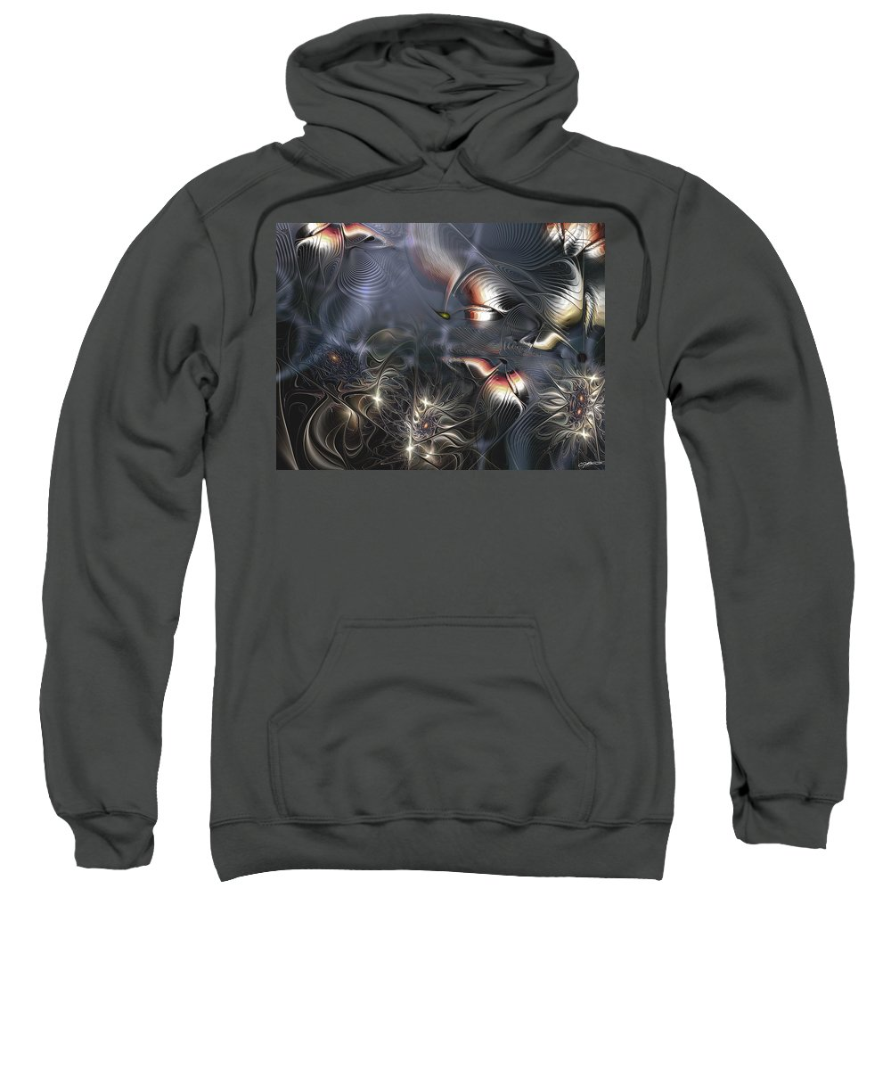 Abstract Sweatshirt featuring the digital art Quixotic Cerebrations by Casey Kotas