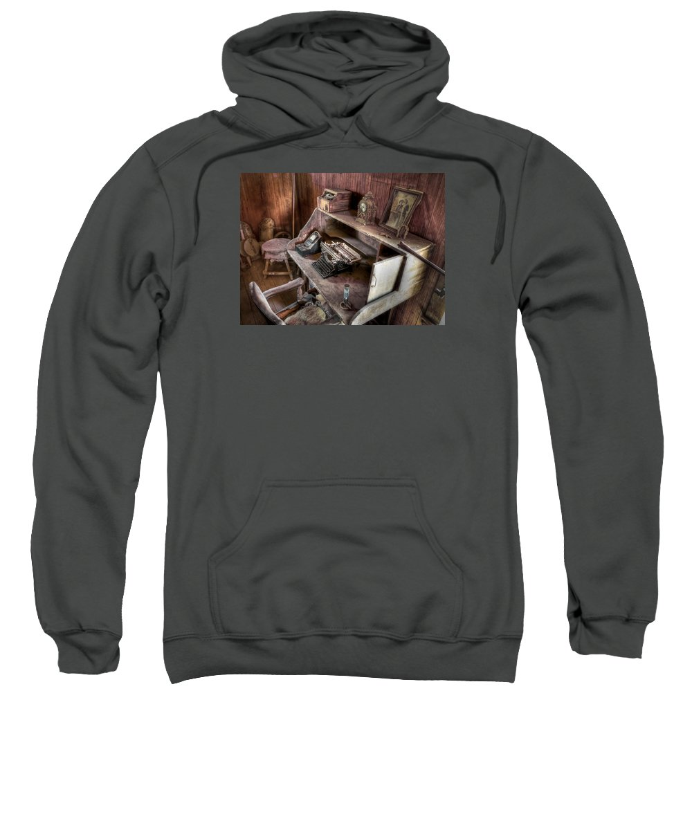 Typewriter Sweatshirt featuring the photograph Qwerty by Backcountry Explorers