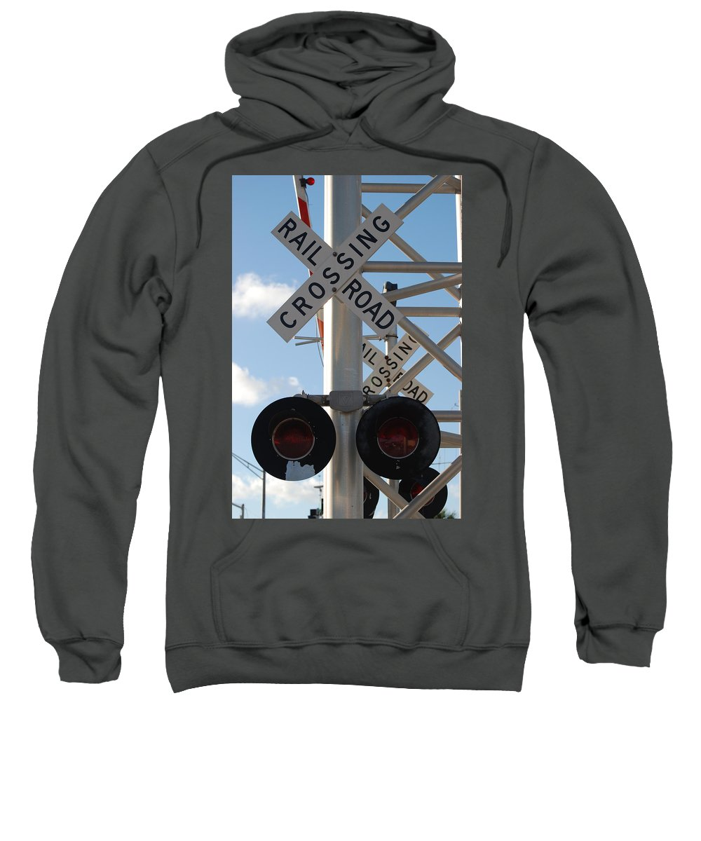Train Sweatshirt featuring the photograph R X R Crossing by Rob Hans
