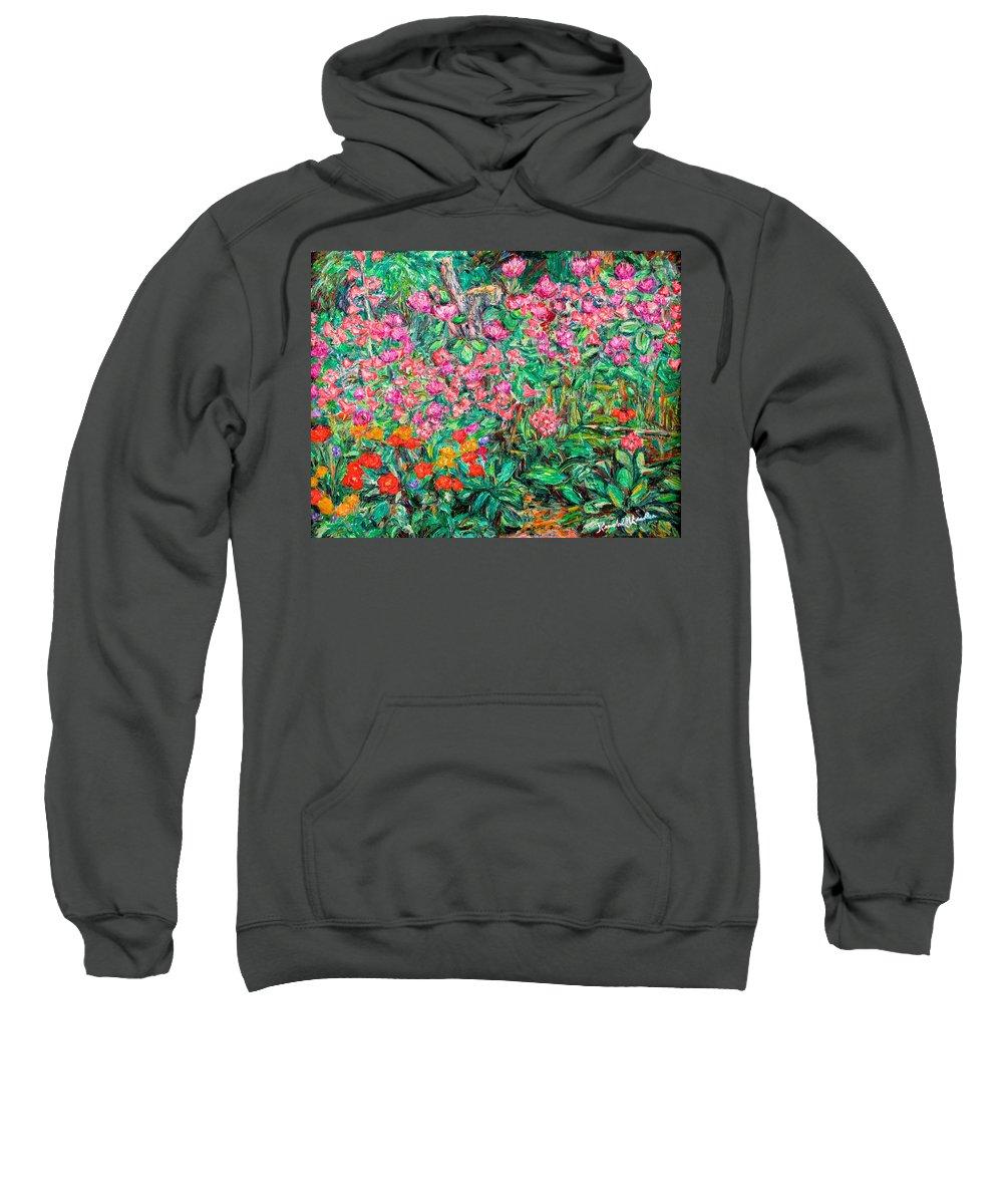 Kendall Kessler Sweatshirt featuring the painting Radford Flower Garden by Kendall Kessler