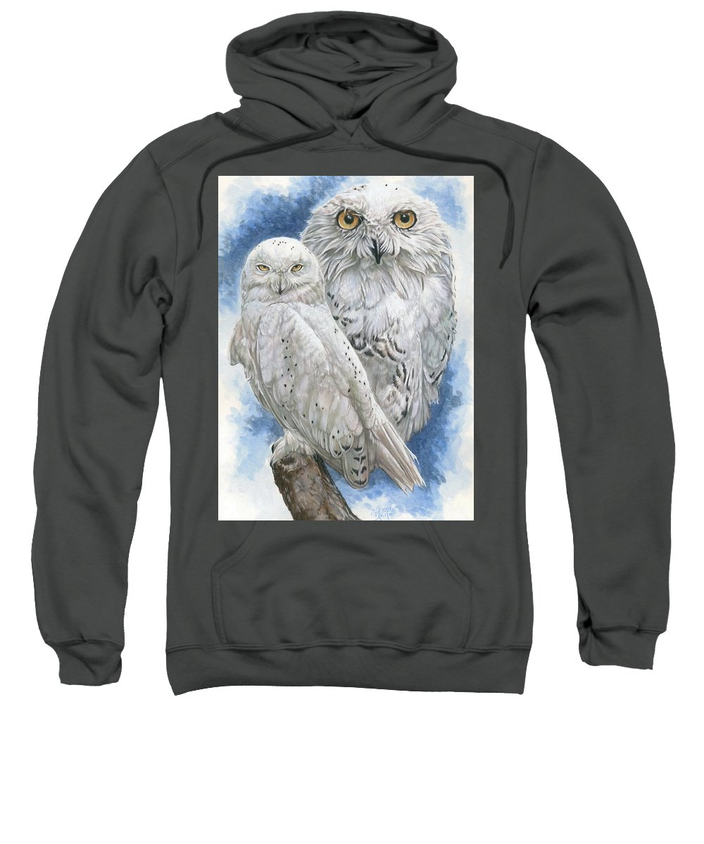 Snowy Owl Sweatshirt featuring the mixed media Radiant by Barbara Keith