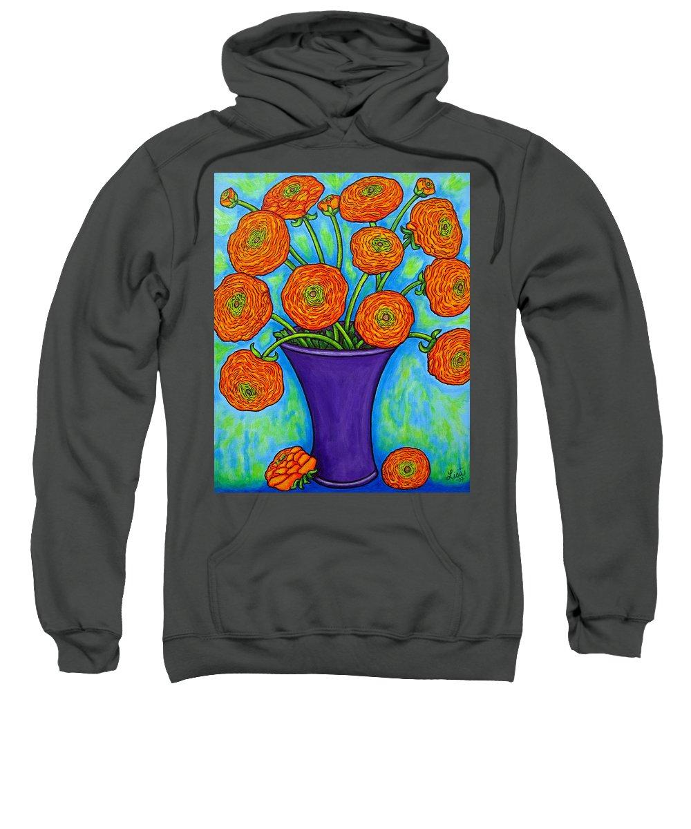 Green Sweatshirt featuring the painting Radiant Ranunculus by Lisa Lorenz