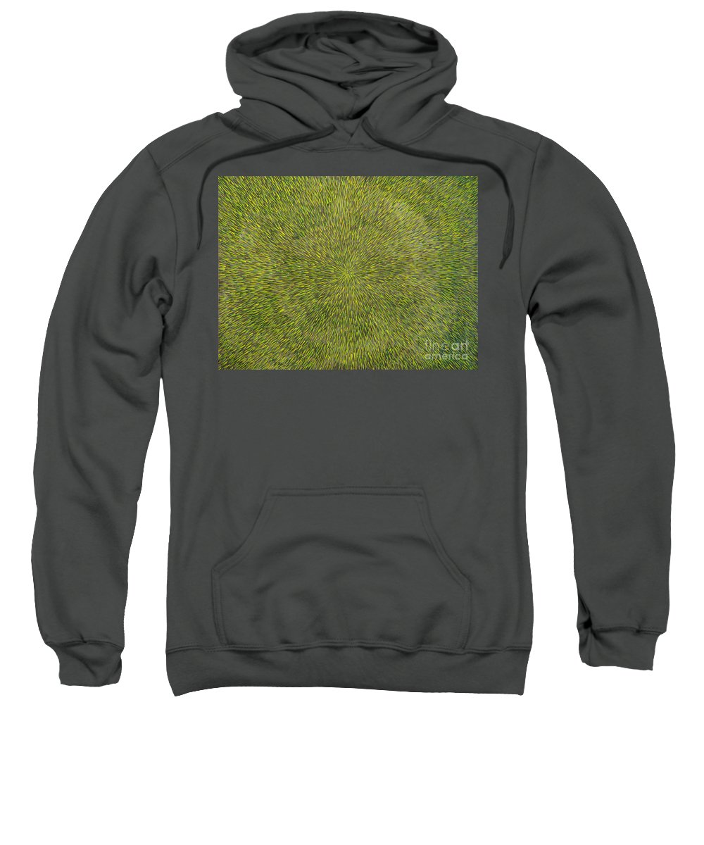 Abstract Sweatshirt featuring the painting Radiation With Green With Yellow by Dean Triolo