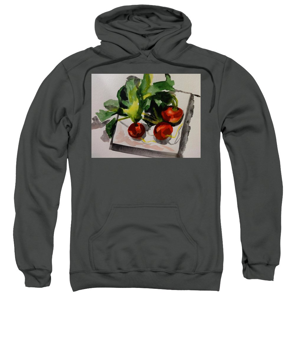 Still Life. Radishes On The White Plate. Sweatshirt featuring the painting Radishes by Irina Stroup