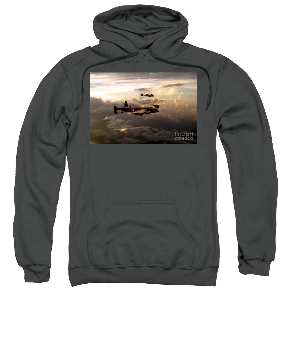 Supermarine Sweatshirt featuring the digital art Raf Lancaster And Spitfire by J Biggadike