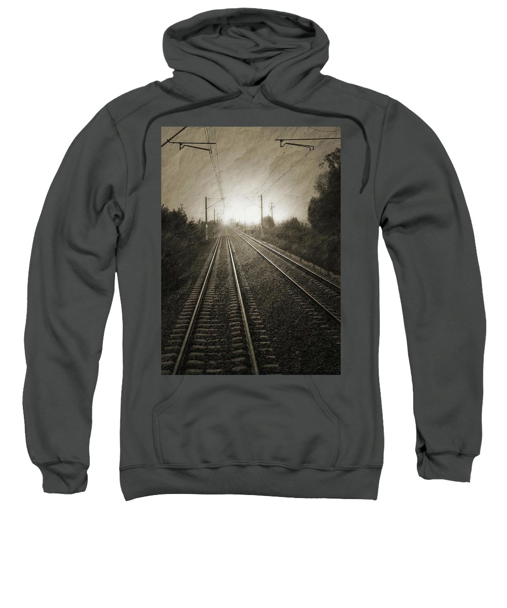Train Sweatshirt featuring the photograph Rails by Angela Wright